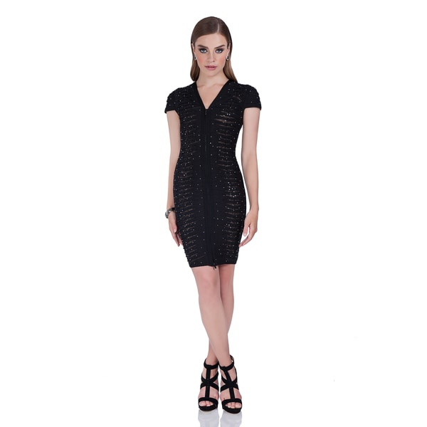 9d59f92a Terani Couture White or Black Beaded Knit Band Zipper Up Cocktail Dress