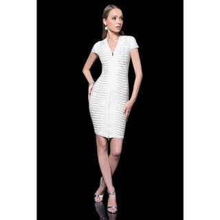 Terani Couture White or Black Beaded Knit Band Zipper Up Cocktail Dress