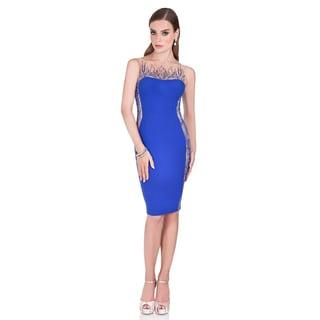 Terani Couture Women's Blue Strapless Illusion Cocktail Dress