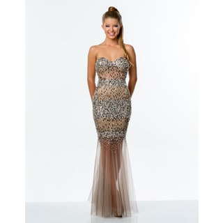 Terani Couture Strapless Nude Illusion Long Prom Dress
