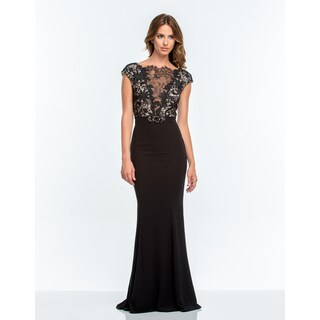 Long black v-neck dress