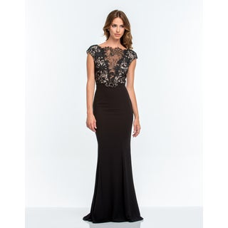 Terani Couture Black Long V-neck Illusion Evening Gown