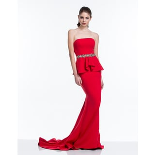 Terani Couture Red Strapless Crepe Evening Gown