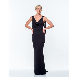Terani Couture Women's V-neck Long Sheath Gown