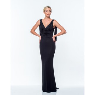 Terani Couture Women's V-neck Long Sheath Gown