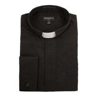 Black Clergy Bishop Deacon Priest Mandarin Banded Collar Dress Shirt