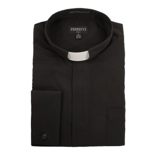 Black Clergy Bishop Deacon Priest Mandarin Banded Collar Dress Shirt