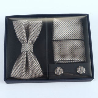 Brio 3 Piece Patterned Bowtie, Pocket Square and Cuff link Set