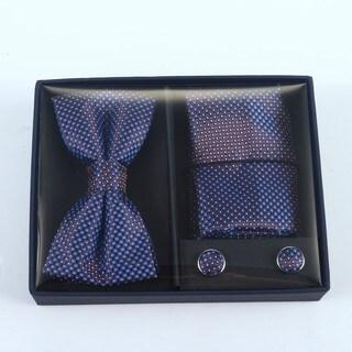 Brio 3 Piece Navy Bowtie, Pocket Square and Cuff link Set