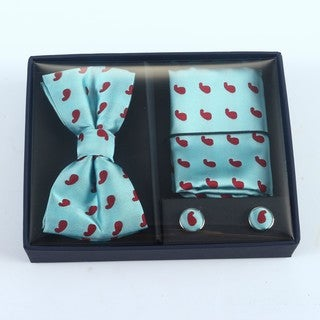 Brio 3 Piece Teal/Red Bowtie, Pocket Square and Cuff link Set