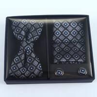 Brio 3 Piece Black/Navy Bowtie, Pocket Square and Cuff link Set