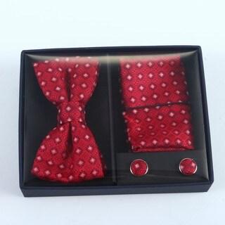 Brio 3 Piece Red/Navy Bowtie, Pocket Square and Cuff link Set