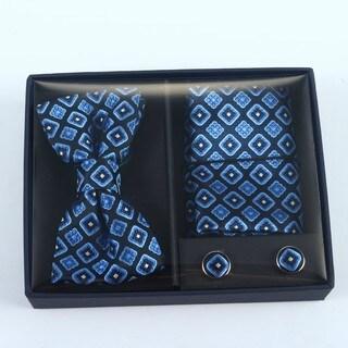 Brio 3 Piece Navy/Light Blue Bowtie, Pocket Square and Cuff link Set