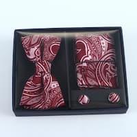 Brio 3 Piece Dark Red/Pink Bowtie, Pocket Square and Cuff link Set