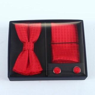Brio 3 Piece Red Bowtie, Pocket Square and Cuff link Set