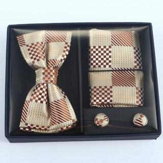 Brio 3 Piece Cream/Brown Checkered Bowtie, Pocket Square and Cuff link Set