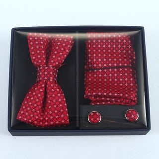 Brio 3 Piece Red/Blue/White Bowtie, Pocket Square and Cuff link Set