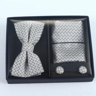 Brio 3 Piece Grey/White Bowtie, Pocket Square and Cuff link Set