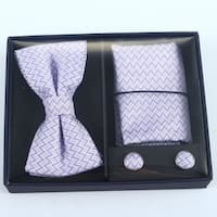 Brio 3 Piece Lavendar/White Bowtie, Pocket Square and Cuff link Set