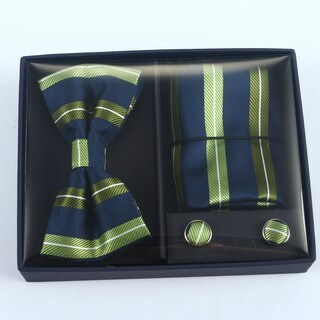 Brio 3 Piece Navy/Green Bowtie, Pocket Square and Cuff link Set
