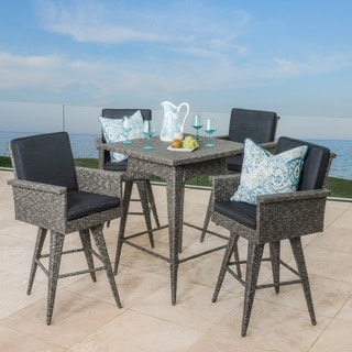 Puerta Outdoor 5-piece Wicker Dining Bar Set with Cushions by Christopher Knight Home