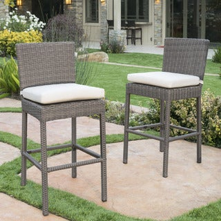 Barcelona Outdoor Counter Stools with Sunbrella Cushion (Set of 2) by Christopher Knight Home