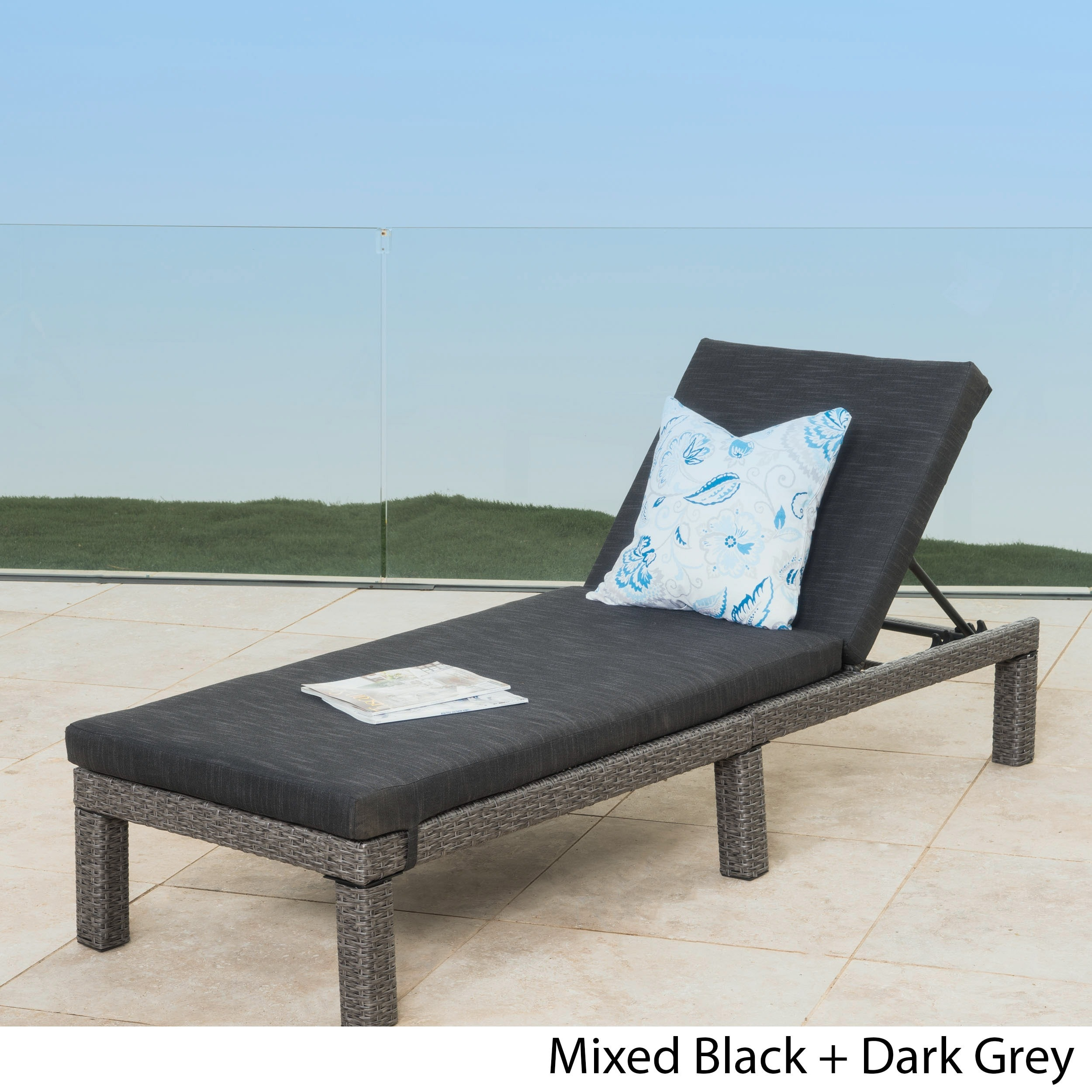 Puerta Outdoor Adjustable Wicker Chaise Lounge with Cushi...