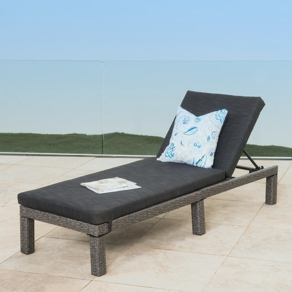 Puerta Outdoor Adjule Wicker Chaise Lounge With Cushion By Christopher Knight Home