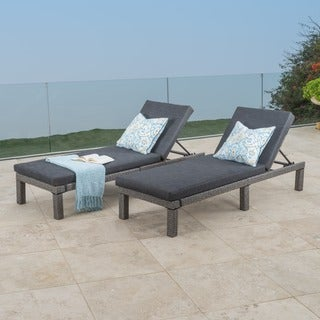 puerta outdoor adjustable pe wicker chaise lounge with cushion by christopher knight home set of