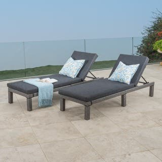 Puerta Outdoor Adjule Pe Wicker Chaise Lounge With Cushion By Christopher Knight Home Set Of