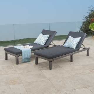 Puerta Outdoor Adjustable PE Wicker Chaise Lounge With Cushion By  Christopher Knight Home (Set Of