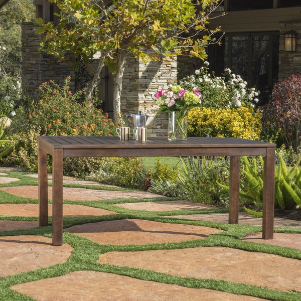 Manila Outdoor Acacia Wood Rectangle Dining Table by Christopher Knight Home. Opens flyout.