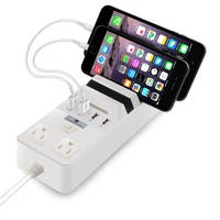 Cobble Pro White 4-port 5.1A USB Charging Station 2-Outlet Power Strip with Multi-device Dock Organizer Stand