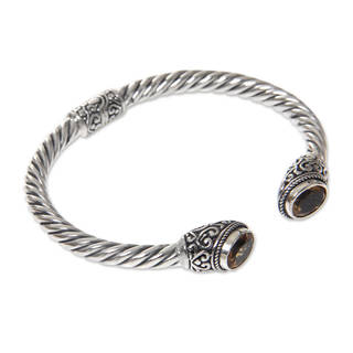 Handcrafted Sterling Silver 'Bali Splendor' Citrine Bracelet (Indonesia)