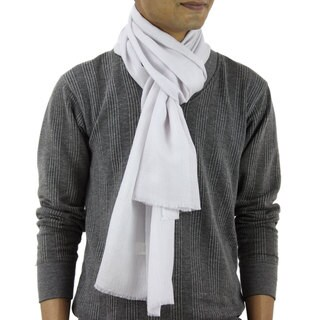 Handmade Men's Wool Silk Blend 'Kashmir Silver' Scarf (India)