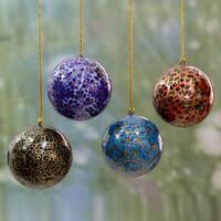 Set of 4 Handmade Papier Mache 'Happy Wonderland II' Ornaments (India)