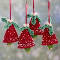 Set of 4 Handmade Wool 'Red Jingle Bells' Ornaments (India)