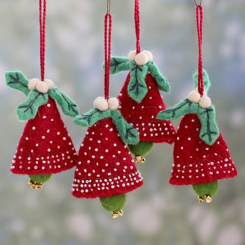NOVICA Handmade Red Jingle Bells Wool Ornaments, Set of 4 (India)