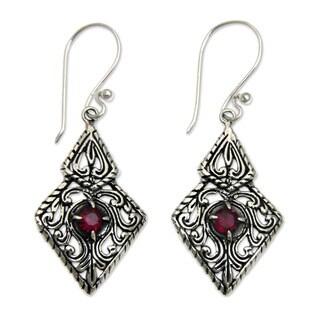 Handmade Sterling Silver 'Sacred Forest' Garnet Earrings (Indonesia)