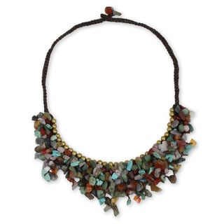 Handcrafted Brass 'Festive Party' Multi-gemstone Necklace (Thailand)