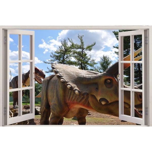 Full color Dinosaur triceratops sticker, Dinosaur triceratops decal, art Sticker Decal size 22x30