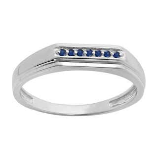 Sterling Silver 1/10ct Round Cut Blue Sapphire Men's 7 Stone Stackable Anniversary Wedding Band