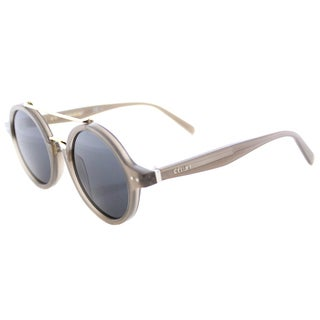 Celine Thin Ella Opal Brown Round Sunglasses Grey Blue Lens
