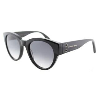 Alexander McQueen 'Mini Rivets' Oversized Frame Black Sunglasses Grey Gradient Lens