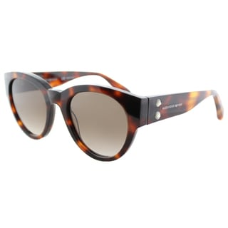 Alexander McQueen 'Rivets' Big Frame Havana Square Sunglasses Turtle Brown Gradient Lens