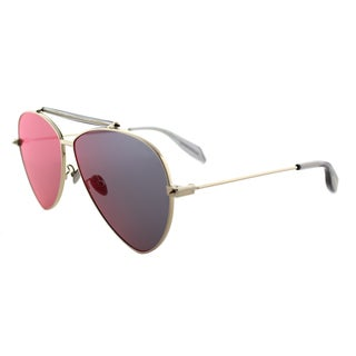 Alexander McQueen Gold Metal Aviator Sunglasses Blue Flat Mirror Lens