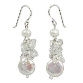 Handcrafted Sterling Silver 'Exquisite Elegance' Cultured Pearl Quartz Earrings (12 mm) (Thailand)