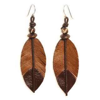 Handcrafted Leather Bone 'Indian Feather' Earrings (Thailand)