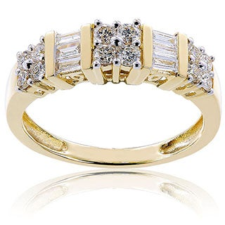 14k Yellow Gold 1/2ct TDW Baguette and Round-Cut Diamond Anniversary Band by Miadora