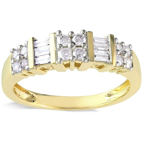 Miadora 14k Yellow Gold 1/2ct TDW Baguette and Round-Cut Diamond Anniversary Band